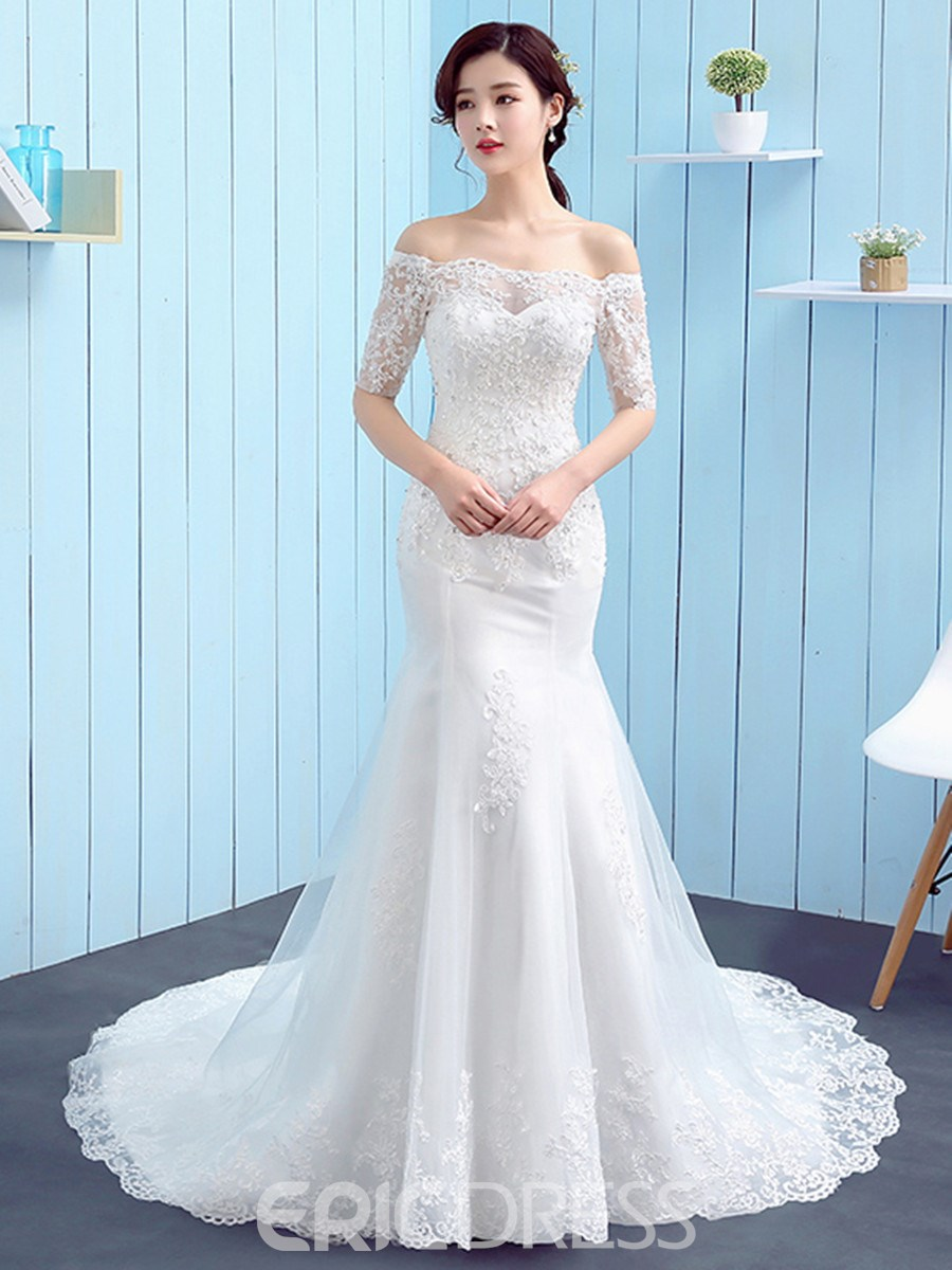 43a5e124e85 Ericdress Charming Off The Shoulder Mermaid Wedding Dress With ...