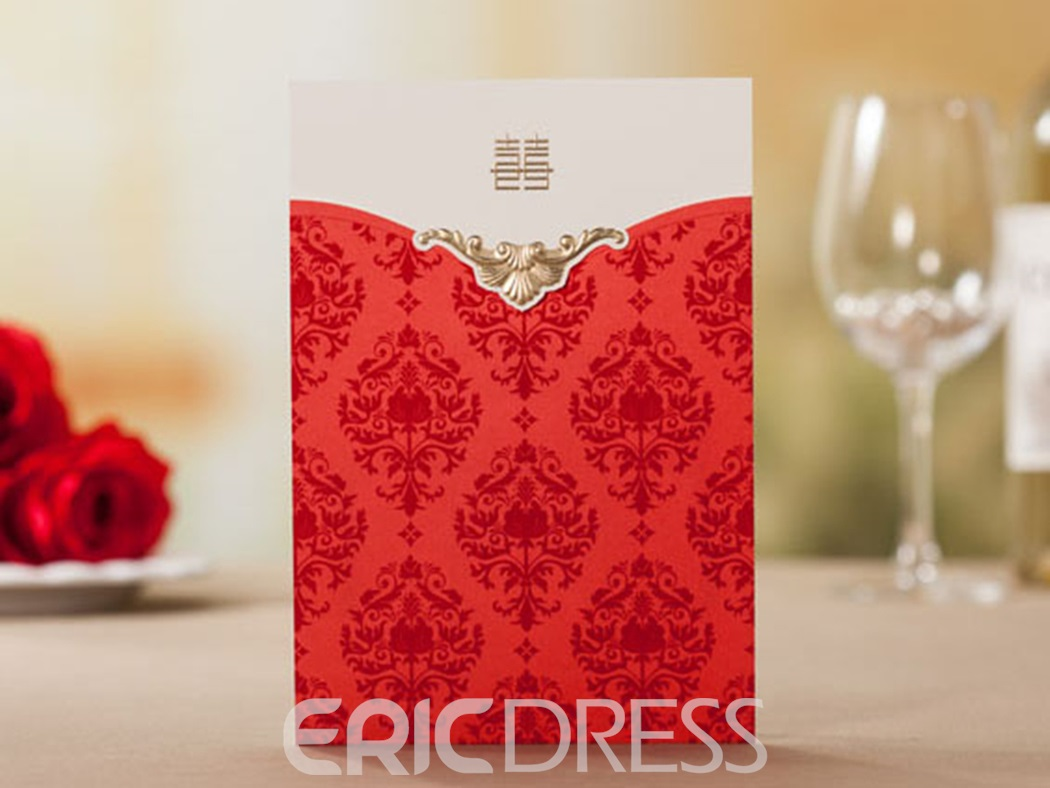 Floral Design Top Fold Red Invitation Cards (20 Pieces One Set)