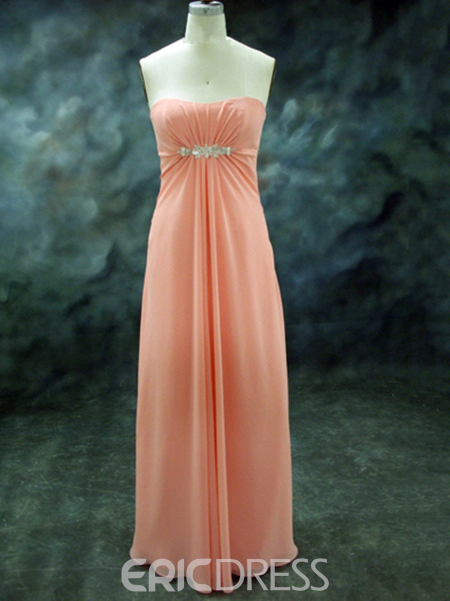Elegant Strapless Beading Long Bridesmaid Dress