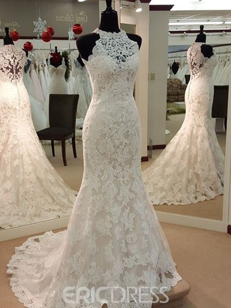 Ericdress Charming Jewel Appliques Sheath Wedding Dress 12167908 ...
