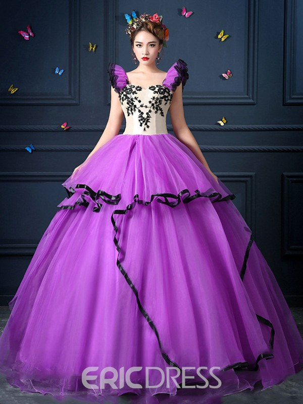 Ericdress Retro Applique Tiered Square Neck Floor Length Ball Gown Dress
