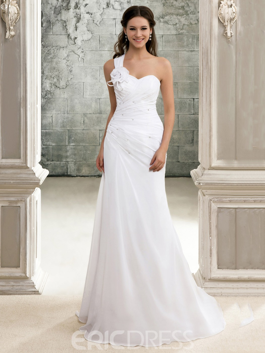 Elegant A-Line One-Shoulder Beach Lace-up Chapel Train Pleats Wedding Dress