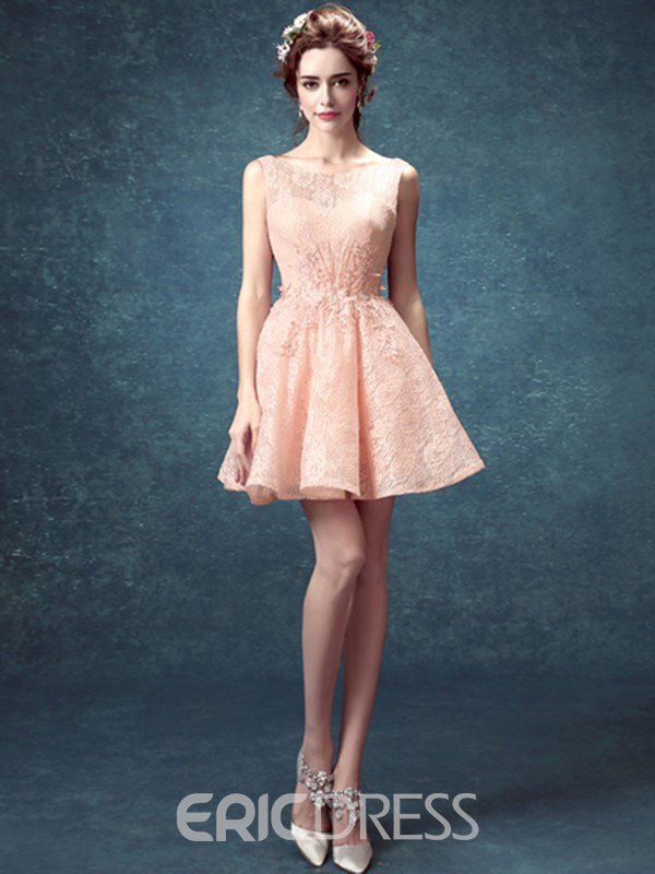 Ericdress Bateau Neck A-Line Lace Appliques Beaded Backless Homecoming Dress