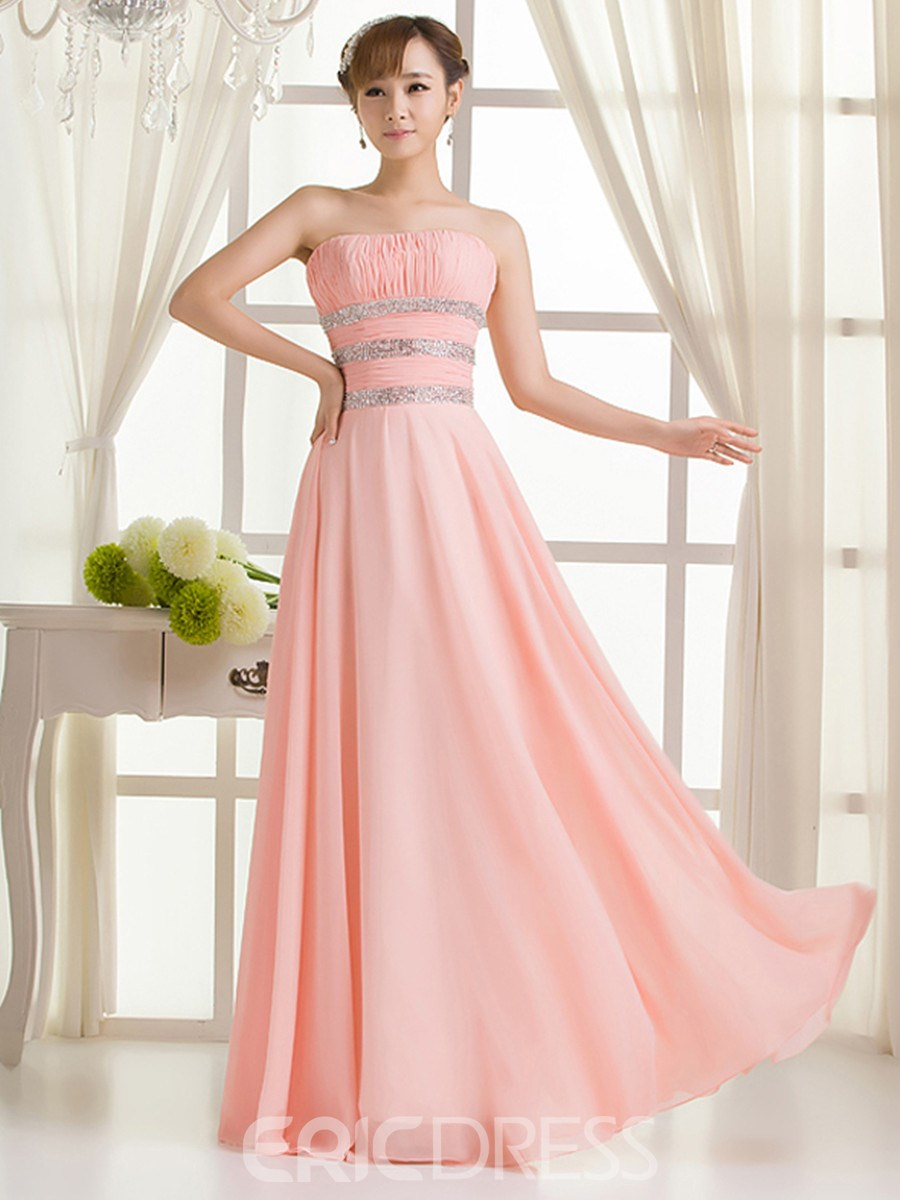 Ericdress Pretty A-Line Strapless Long Bridesmaid Dress