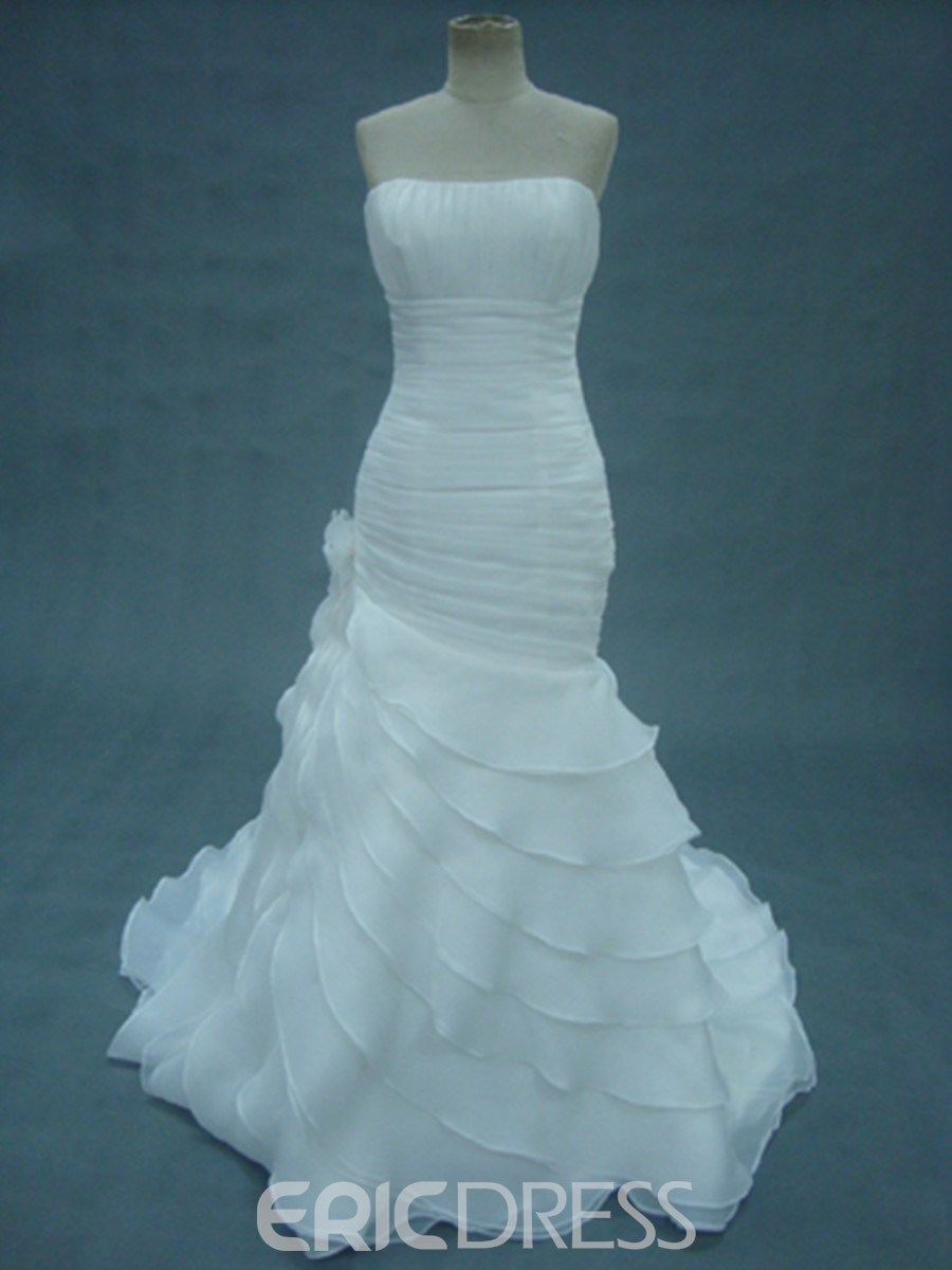 Gorgeous Mermaid Floor-Length Strapless Tiered Chapel Wedding Dress