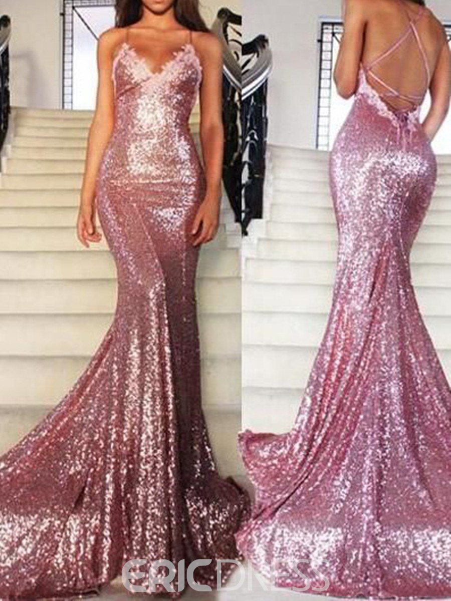 Ericdress Spaghetti Straps Sequin Mermaid Evening Dress With Court Train