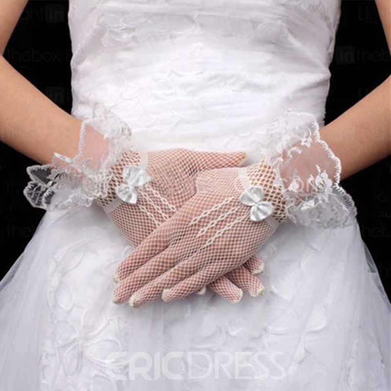 Wonderful Bridal/Wedding Net Gloves with Laciness