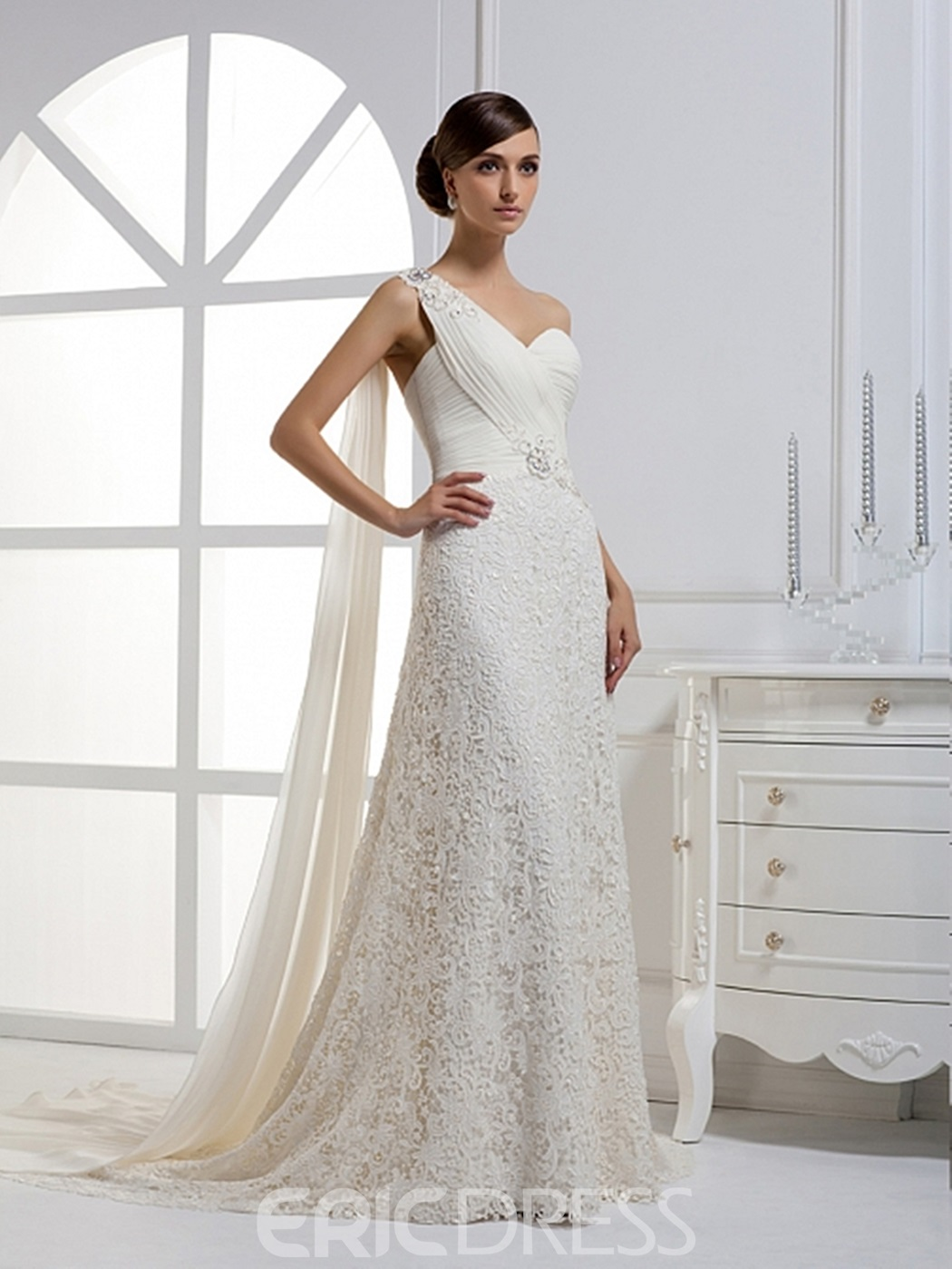 Attractive A-line One-shoulder Lace Watteau Floor-length Wedding Dress