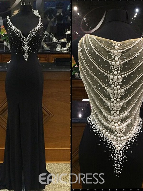 Ericdress Mermaid V-Neck Beading Pearls Sweep Train Evening Dress