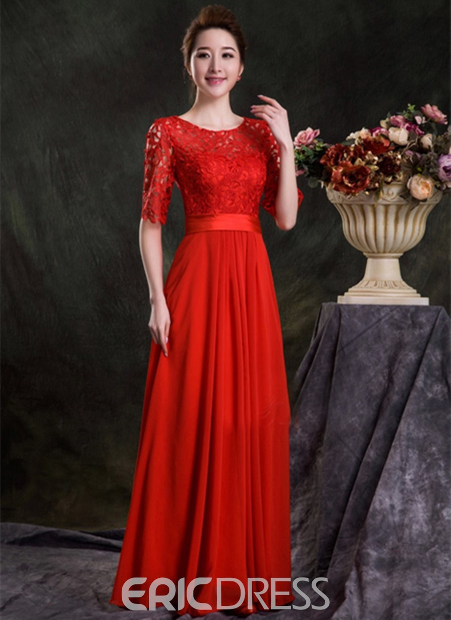 Graceful A-Line Jewel Lace Floor Length Bridesmaid Dress