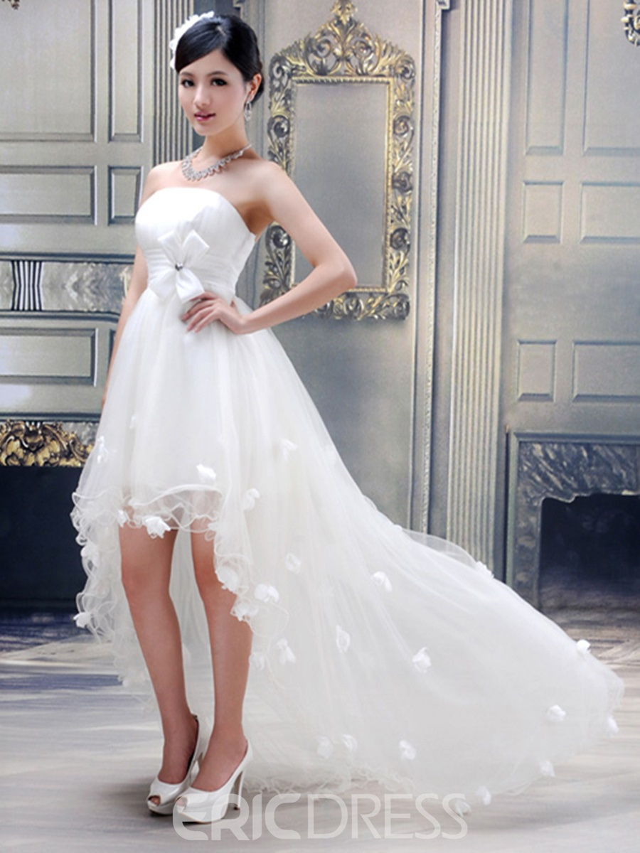 Stunning Ball Gown Strapless Flowers High-low Wedding Dress 10456099 ...