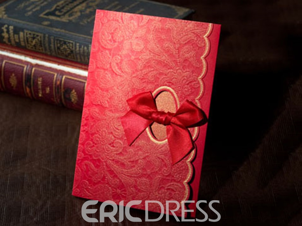 Modern Red Tri-Fold Invitation Cards (20 Pieces One Set)