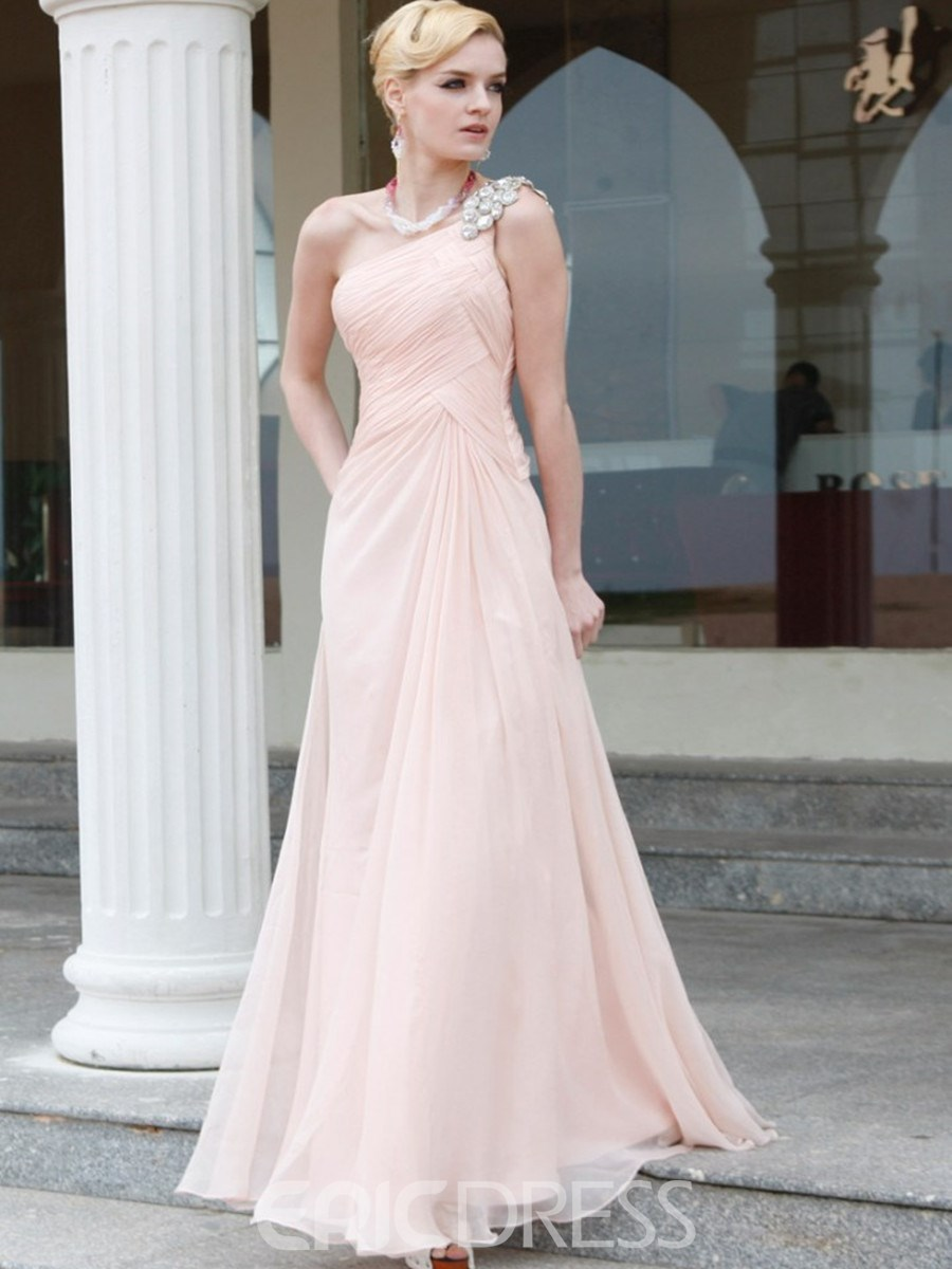 Brilliant A-Line Floor Length One Shoulder Evening/Event Dress
