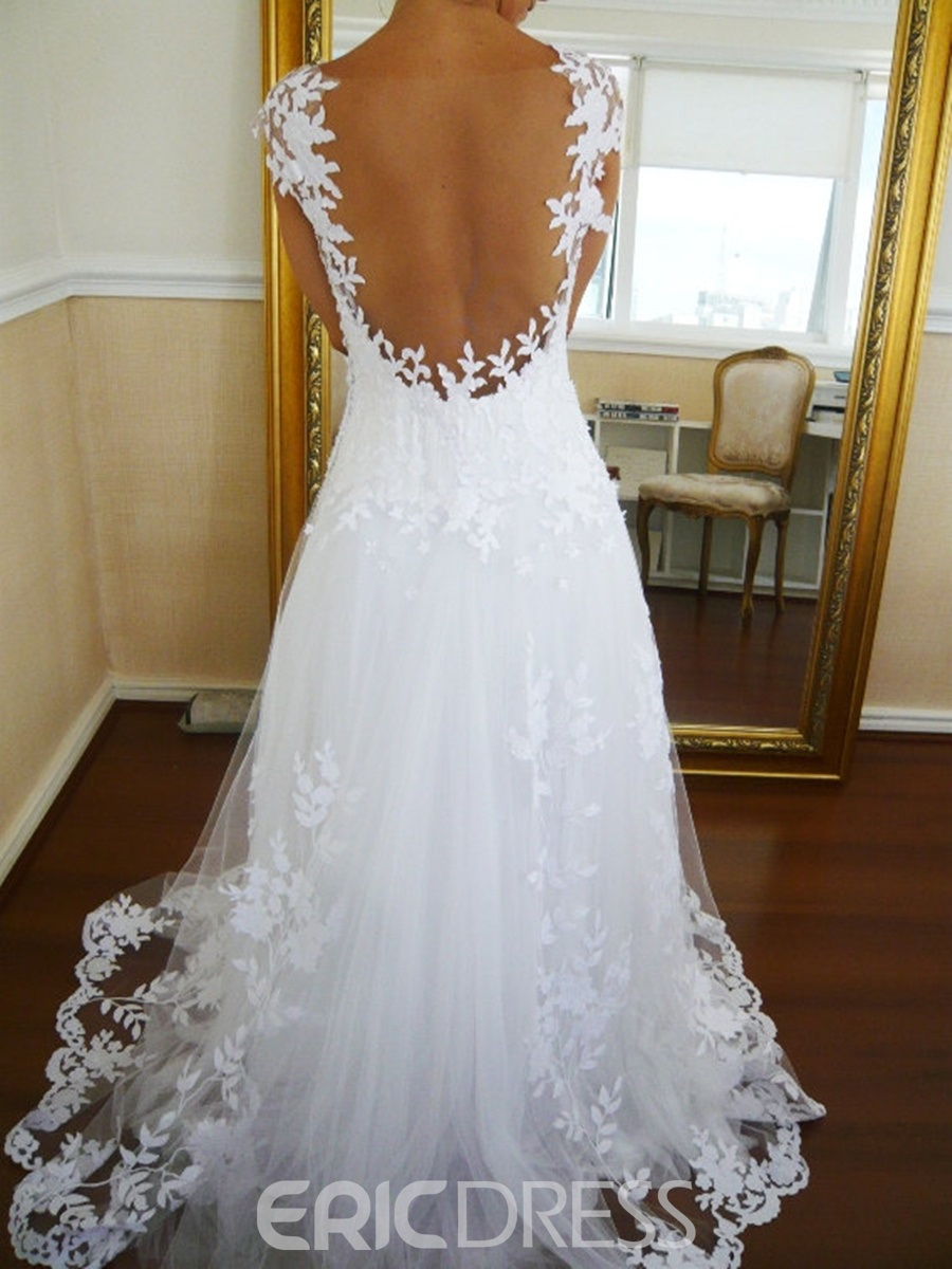 Ericdress Sheer Back Appliques Cap Sleeves Wedding Dress