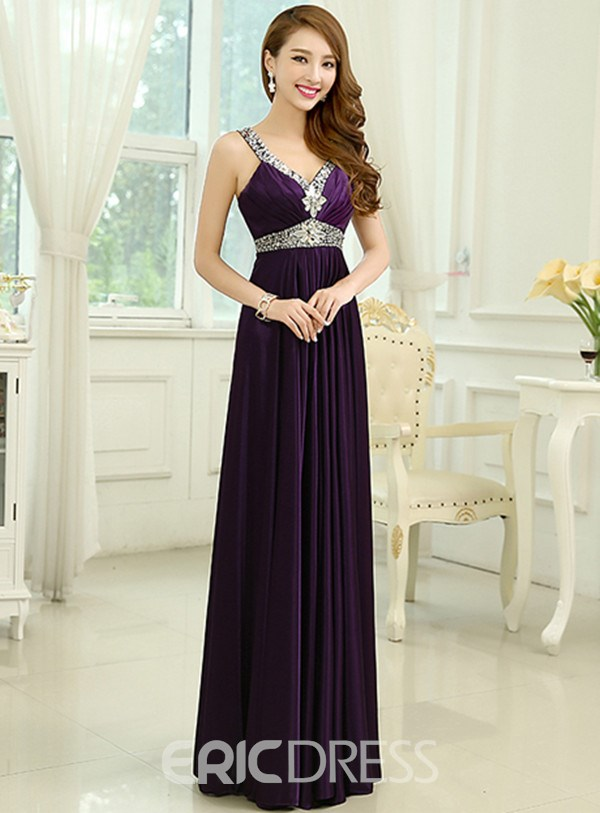 Ericdress Exquisite Straps Beaded Long Prom Dress