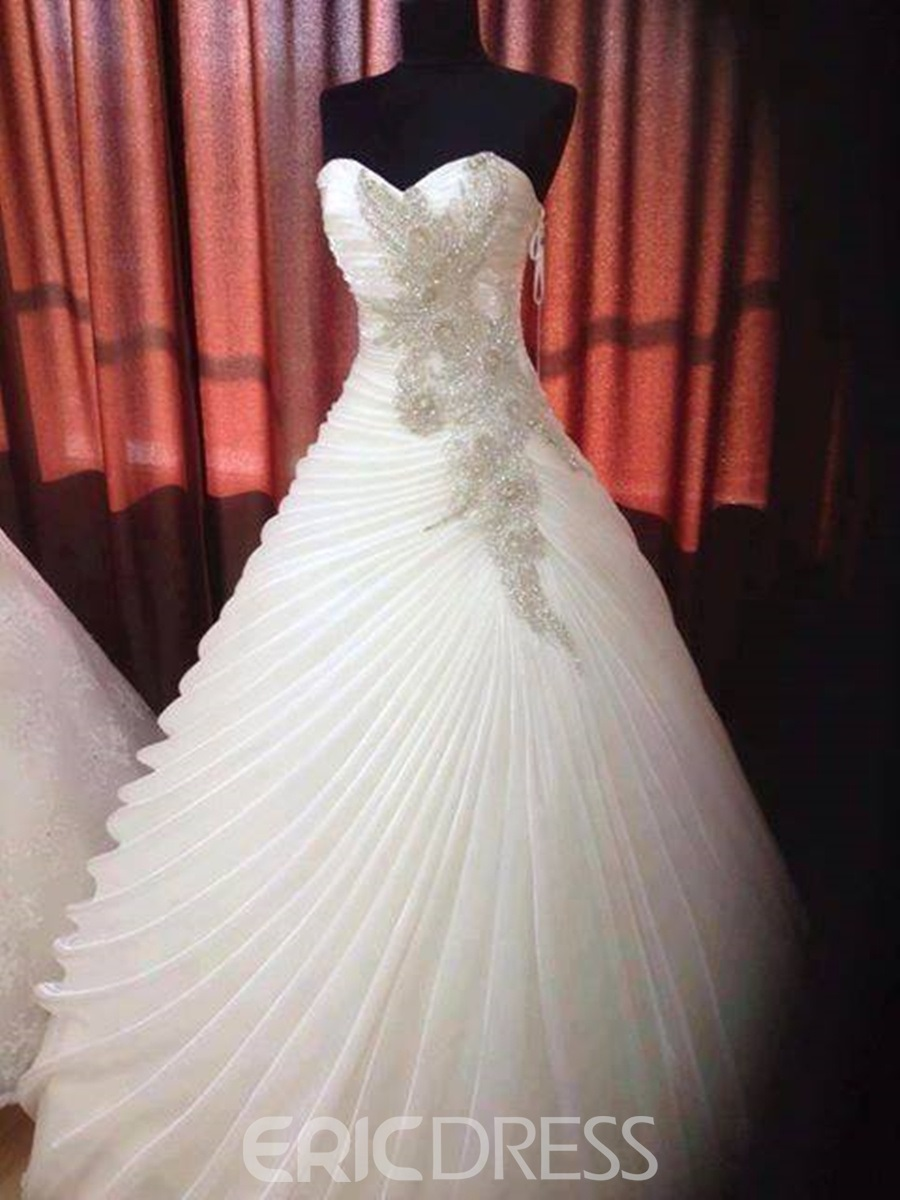 Ball Gown Sweetheart Beading Ruffles Wedding Dress