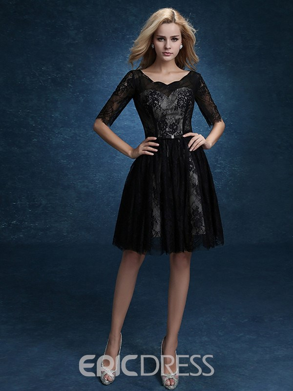 Ericdress Half Sleeve A-Line Knee-Length Lace Black Homecoming Dress