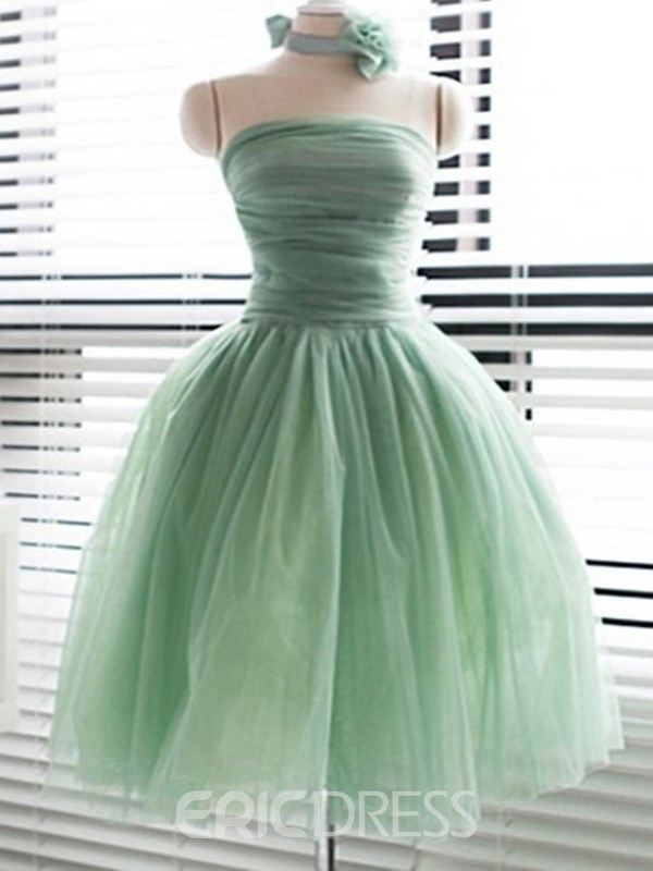 Ball Gown Strapless Flower Yarn Sweet 16 Dress