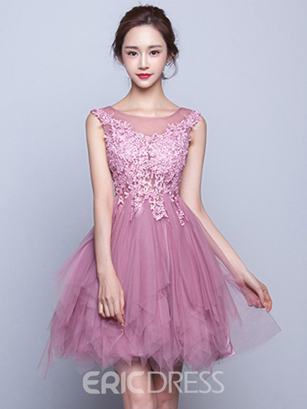Ericdress A-Line Scoop Cap Sleeves Appliques Mini Homecoming Dress