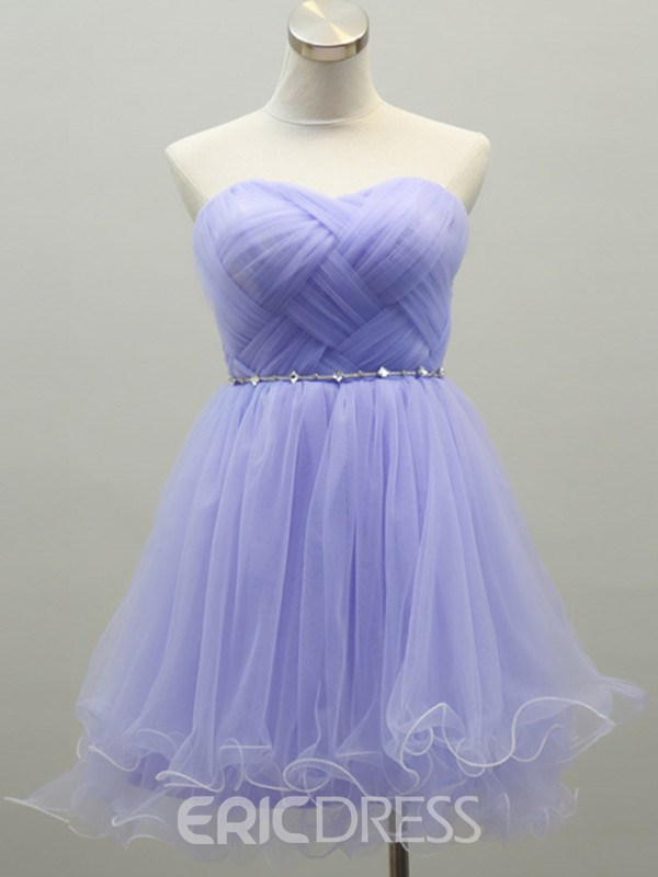 Pretty A-Line Sweetheart Ruffles Crystal Homecoming Dress
