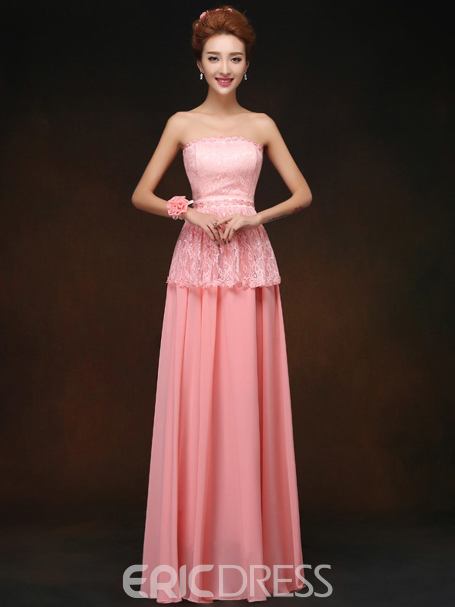 Classy Strapless Lace Long Bridesmaid Dress