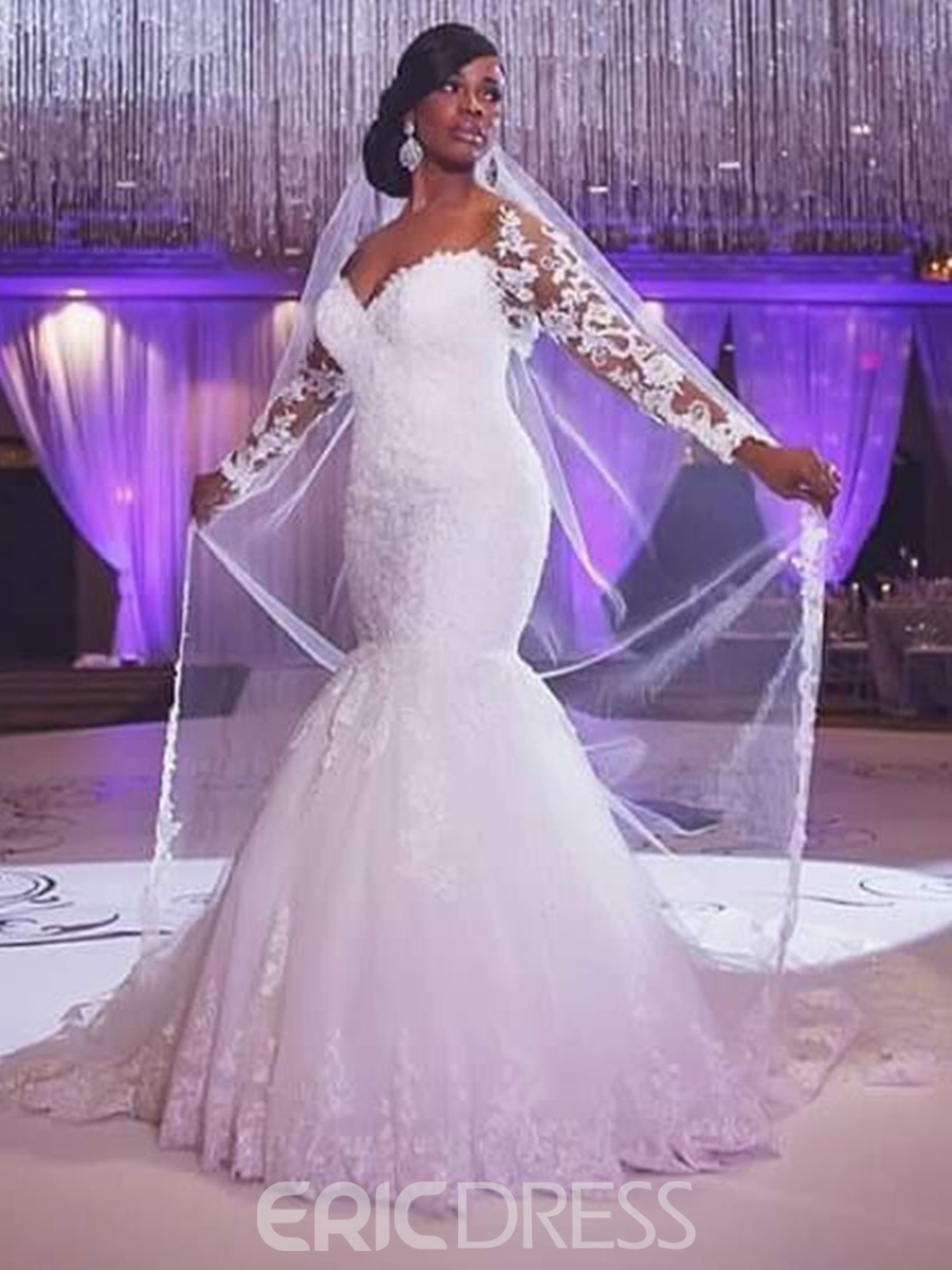 Ericdress Charming Off The Shoulder Long Sleeves Mermaid Wedding Dress