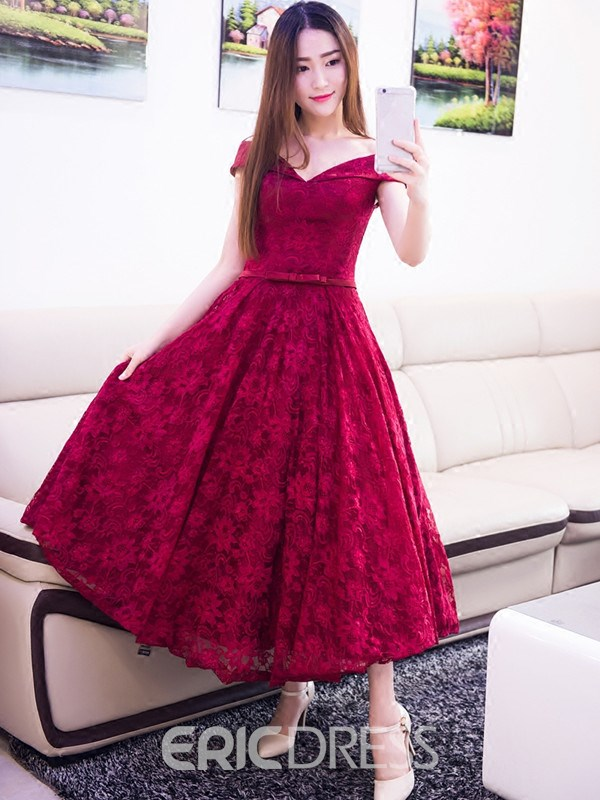 Ericdress A-Line Off-the-Shoulder Bowknot Lace Sashes Tea-Length Prom Dress