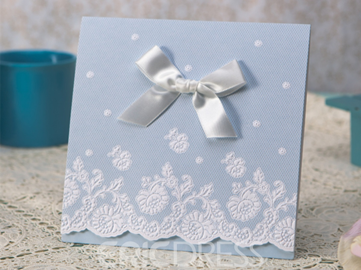 ClClassic Design Tri-Fold Invitation Cards With Bows/Ribbons (20 Pieces One Set)