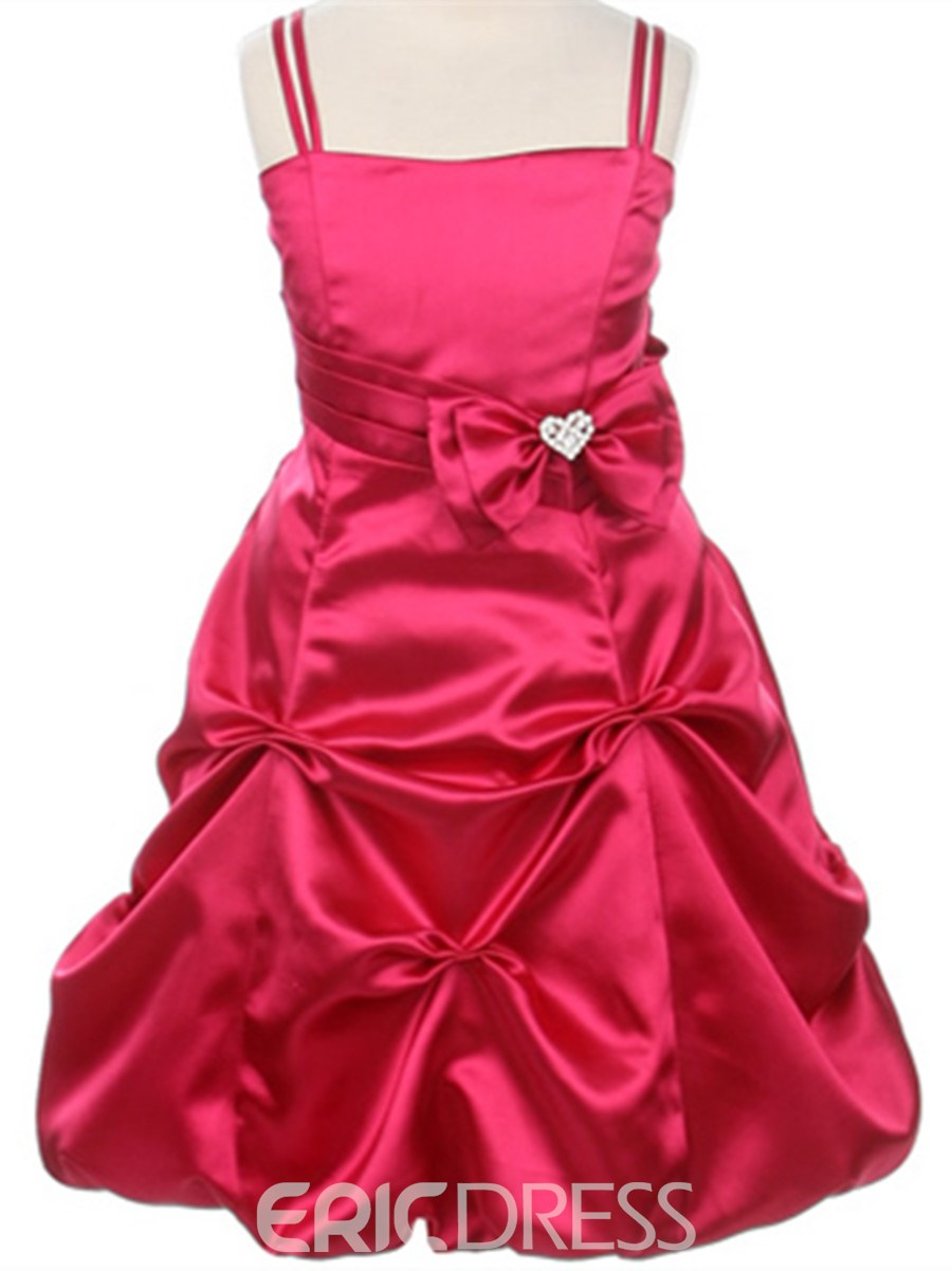 Cute A-line Tea-length Spagetti Straps Ruched Bowknot Flower Girl Dress