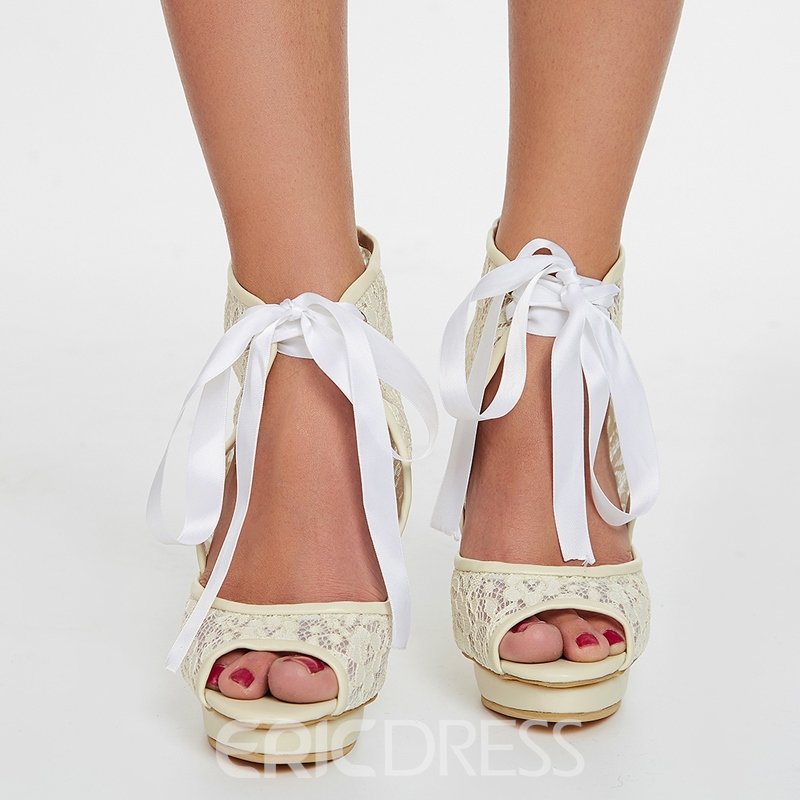 Ericdress Ivory Lace Wedding Shoes