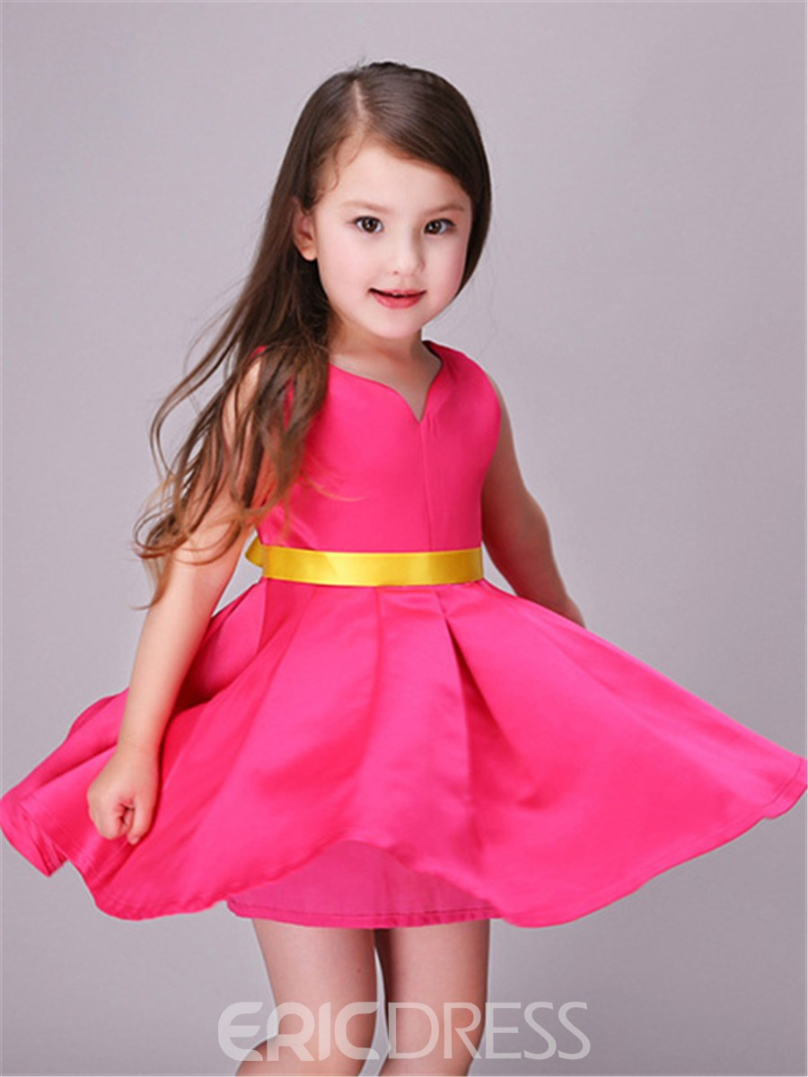 Ericdress V-Neck Pleated Lace-Up Girls Dress