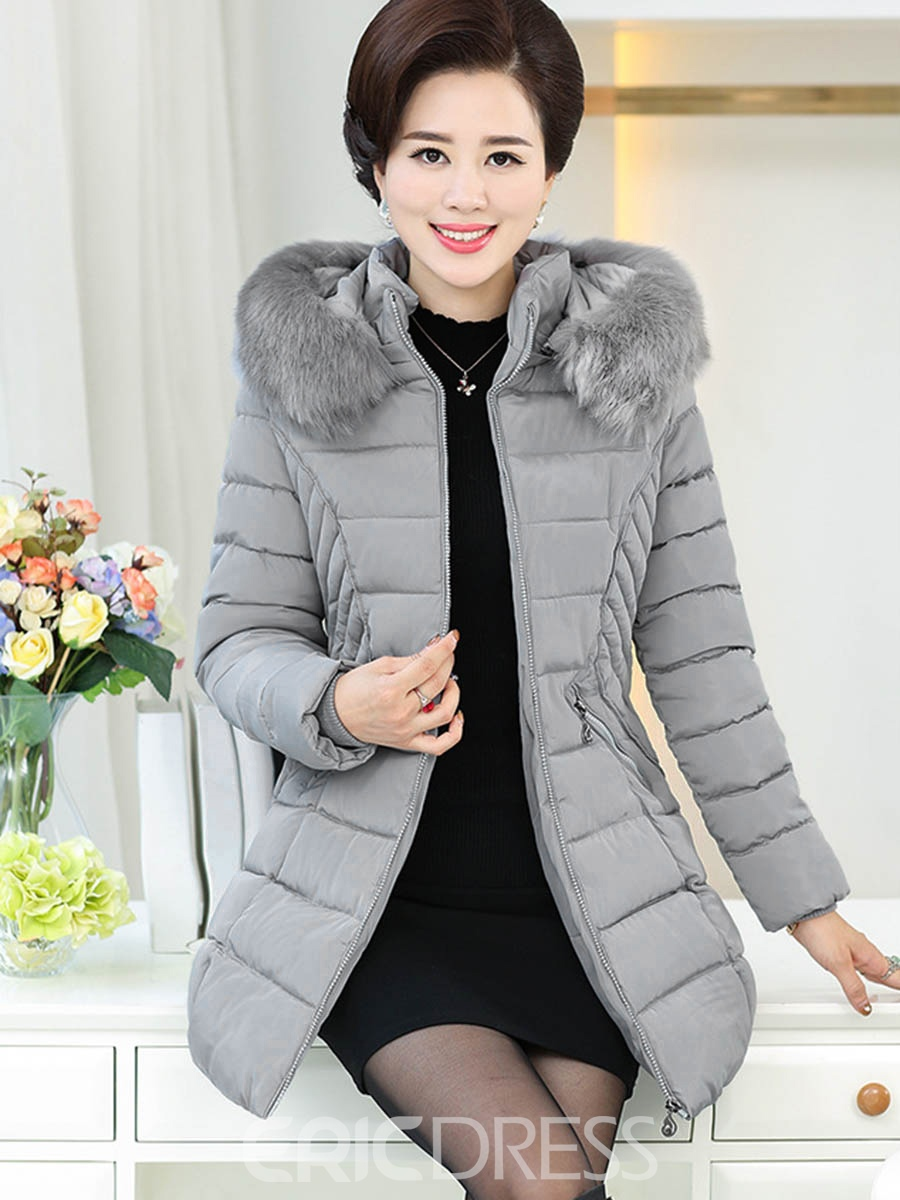 Ericdress Slim Solid Color Casual Plus Size Coat