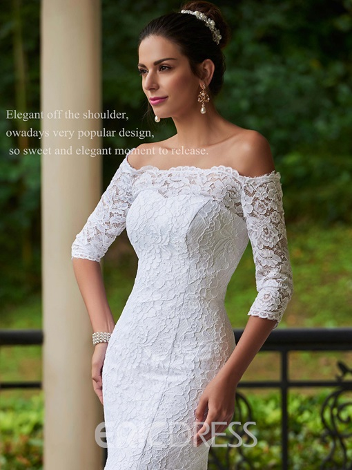 Ericdress Mermaid Off The Shoulder Lace Wedding Dress With Sleeves
