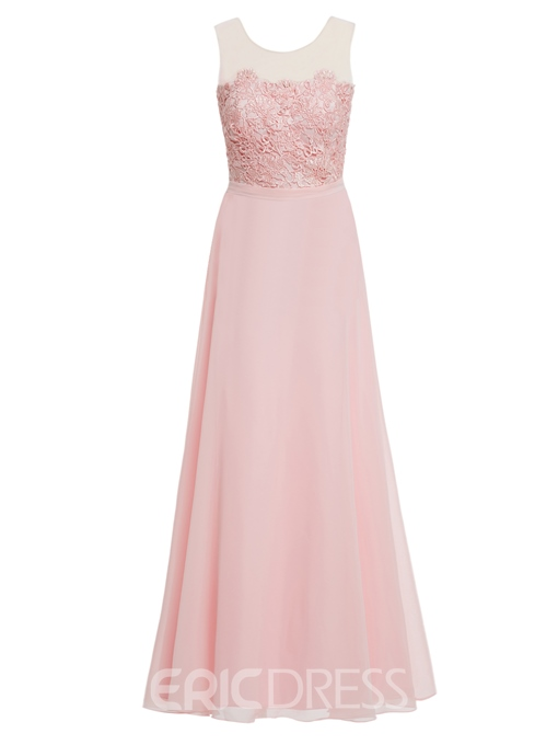 Ericdress Pretty A Line Applique Chiffon Ankle Length Prom Dress