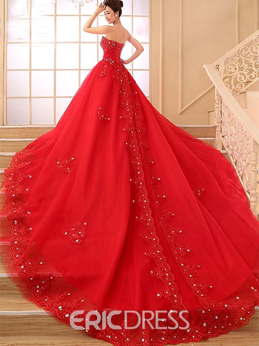 Ericdress Beading Appliques Red Wedding Dress