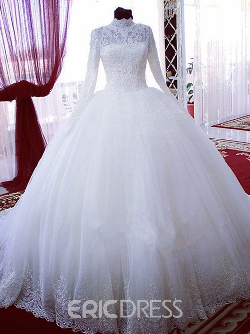 Ericdress High Neck Long Sleeves Lace Wedding Dress