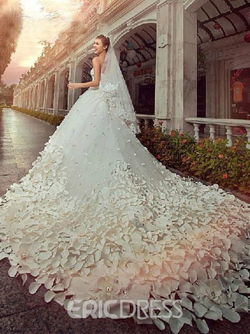 A-line Floor-Length Cathedral Flower Beading Wedding Dress