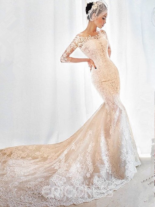 Ericdress Charming Off The Shoulder Appliques Mermaid Wedding Dress With Sleeves