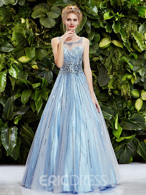 Delicate See-Through Neck A-Line Long Prom Dress