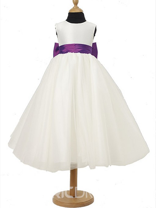 Charming A-line Scoop Tea-length Sash Flower Girl Dress