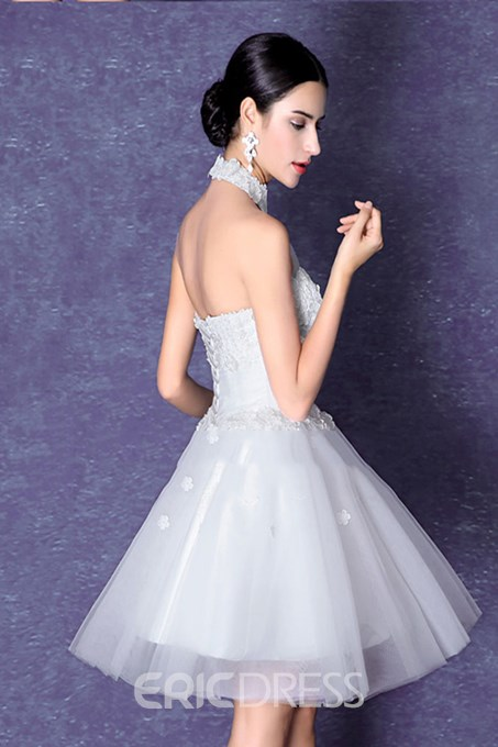 Ericdress High Neck A-Line Lace Backless Homecoming Dress