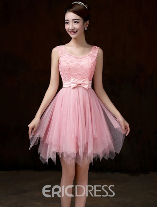 Ericdress Beautiful Asymmetry Lace Bridesmaid Dress