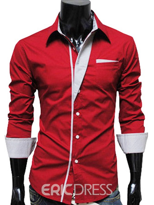 Ericdress Simple Lapel Single-Breasted Long Sleeves Men's Shirt