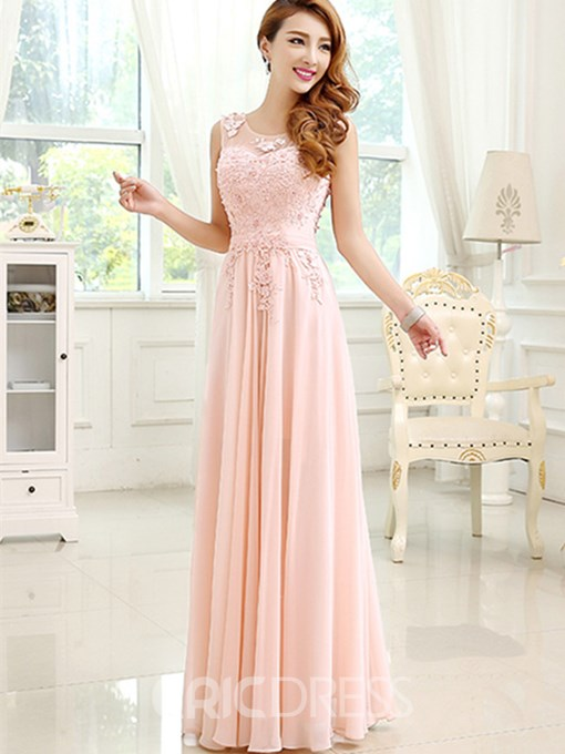 Ericdress Lace Scoop A-Line Floor Length Prom Dress