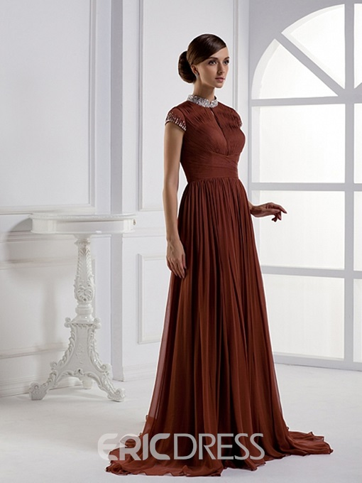 Gorgeous A-Line Sweep-Length High-Neck Cap-Sleeves Mother of Bride Dress
