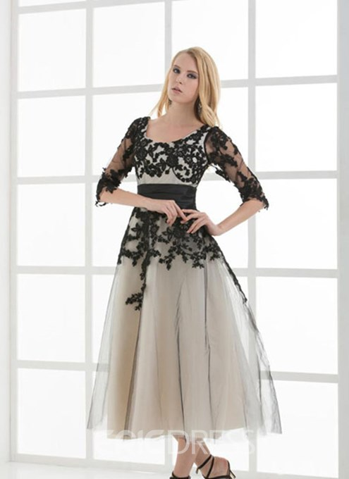 Ericdress Vintage Half Sleeves Tea-Length A-Line Lace-up Evening Dress