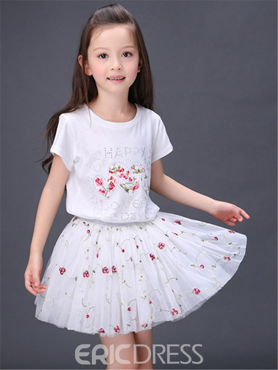 Ericdress Floral Girls Skirt Outfit