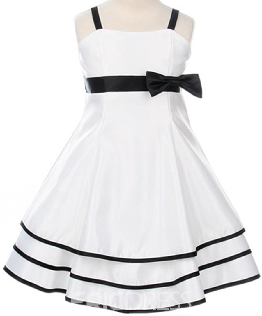 Beautiful Square A-line Tea-Length Bowknot Embellishing Flower Girl Dress