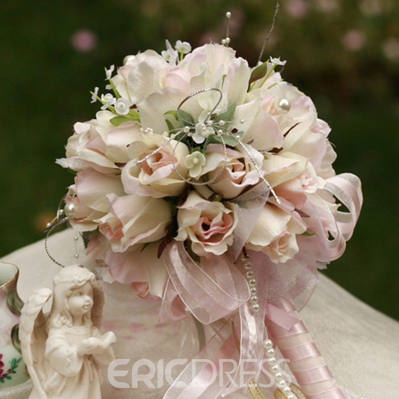 Elegant Small Light Rose Silk Cloth Birdal Bouquet