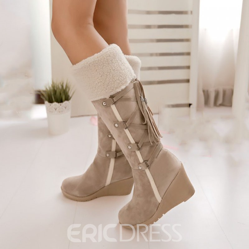 Ericdress Pretty Girl Knee High Boots with Tassels